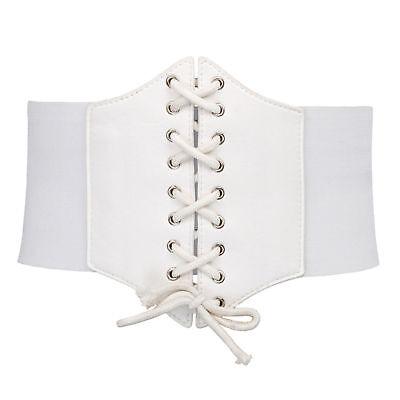 Ladies Waist Cincher Wide Band Elastic Tied Waspie Corset Leather Belt Uk Stock 7