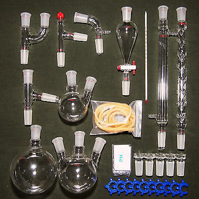 New advanced Chemistry Lab Glassware Kit With 24/40 Glass Ground Joint,29PCS 4