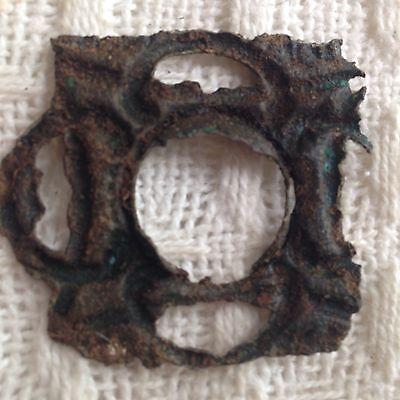 Beautiful Patina Intricate Roman Casket/Box Mount Lock Cover Uk Find 3