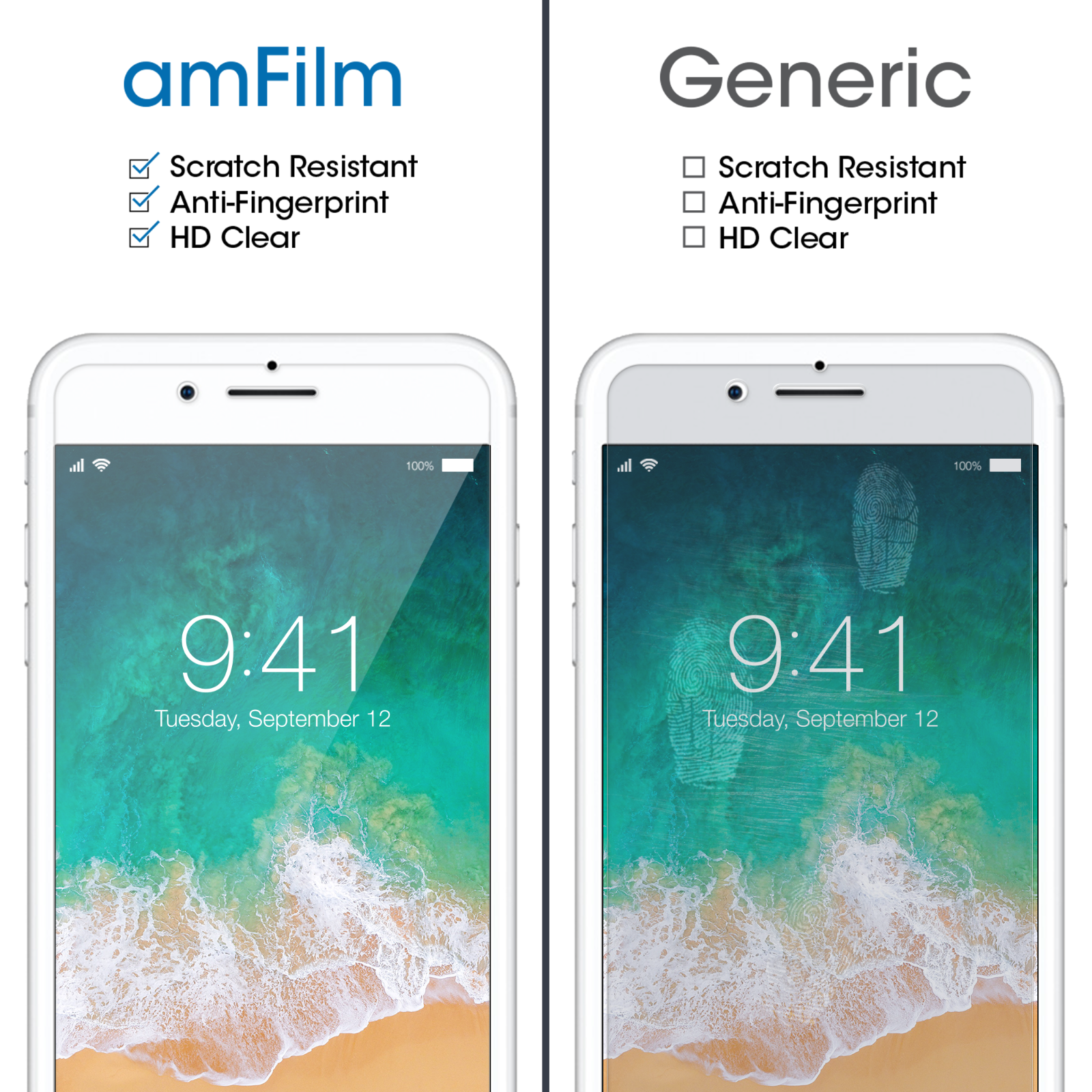 Premium Real amFilm Tempered Glass Screen Protector for iPhone 8/7/6S/6 (2 Pack) 5