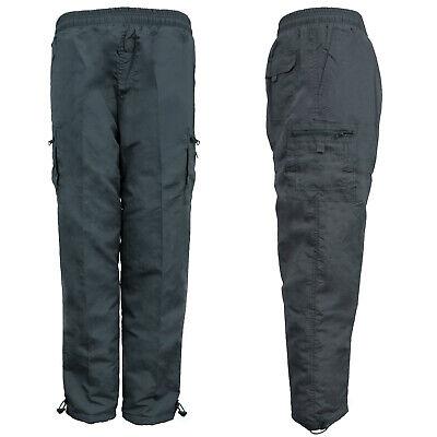 Men/'s Plain Cargo Work Trouser Thermal Fleece Lined Zip Pocket Pants M-3XL