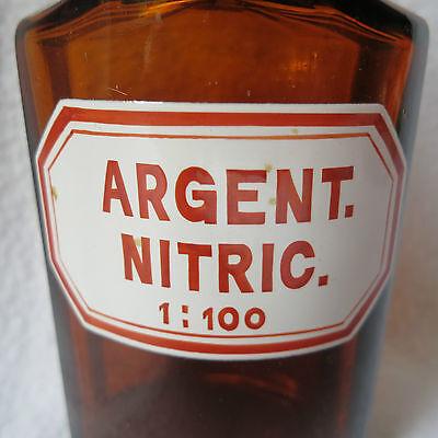 alte Apothekerflasche mit Schliff-Stopfen Argent. nitric. emailliert achteckig