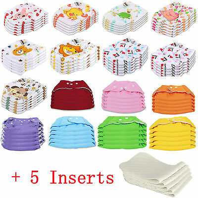 5 PCS+5 INSERTS Cloth Diapers lot Nappies Adjustable Reusable For Baby Newborn 2