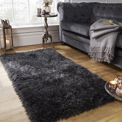 UK Large Shaggy Soft Mat Floor Rug Plain Sparkle Area Thick Pile Glitter Mat 5