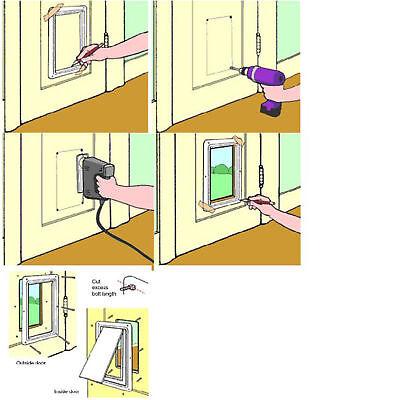 Pet door 4 way locking Small Medium Large Dog Cat Flap Magnetic White Frame 11