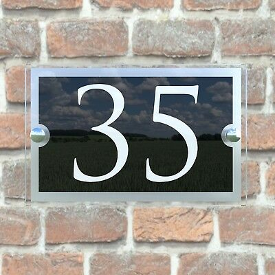 Contemporary House Sign Plaques Door Number 1 - 9999 Personalised Name Plate 8