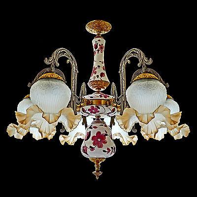 Fabulous Antique 1930 Art Deco/Lalique Art-Glass Style/Porcelain/Gilt Chandelier 5
