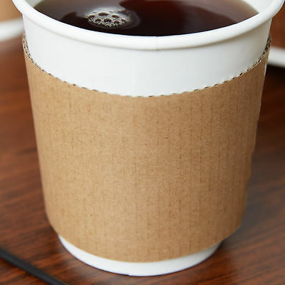 100 ct. 10 - 20 Oz. Eco Disposable Brown Coffee Cup Sleeves / Jacket / Clutch 4