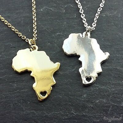 Africa Map Heart Necklace Pendant Chain Gift Travel African Charm 8