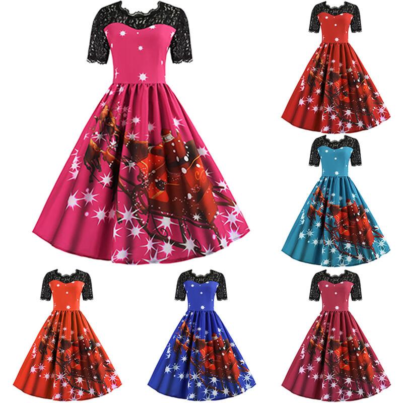 Christmas Dresses Womens.Christmas Womens 1950s Retro Skater Swing Dress Xmas Santa Claus Party Dresses