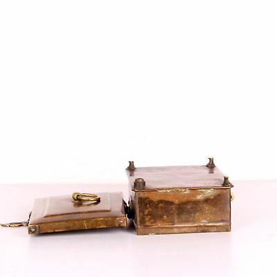 Antique Brass Miniature Collectible Mughal Style Betel Nut Box With Lock System 5