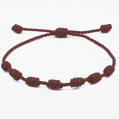 Pulsera roja de 7 nudos de la suerte para hombre o mujer de hilo bracelets 12