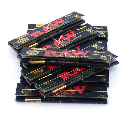 RAW Black Rolling Papers King Size Slim Classic Natural Unrefined Skins 110mm 8