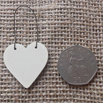 East of India tiny miniature wooden HEART messages gift tags signs keepsakes 2