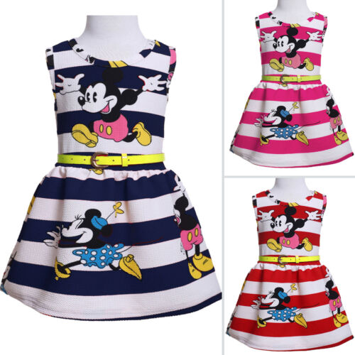 3dee861686b0f Tout-Petit Enfants Filles Dessin Animé Minnie Mouse Robe Soirée sans Manche  Jupe 10 10 sur 11 ...