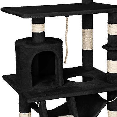Arbre à chat griffoir grattoir geant sisal avec hamac lit 141 cm hauteur noir 5