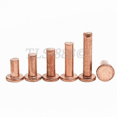 M5 M6 M8 Flat Head Knurling Copper Rivets Solid Brass Rivet Fasteners 5