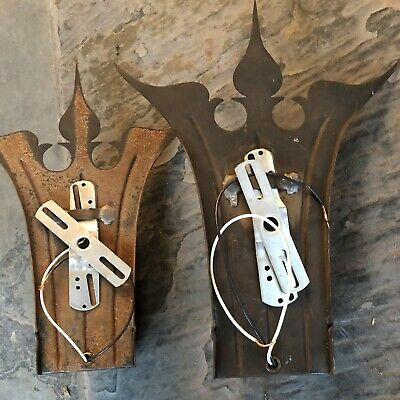 Pair 1930 Frank J. Forster Wrought Copper Tone Brass Tudor Revival Wall Sconces 9