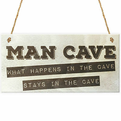 Man Cave Novelty Wooden Hanging Plaque Funny Boyfriend Husband Son Sign Gift
