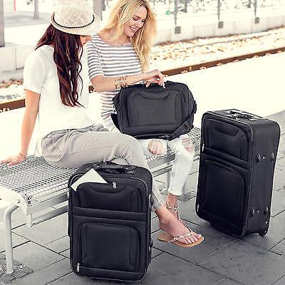 Set de 4 valises de voyage textile trolley bagage avec 2 roues noir 2
