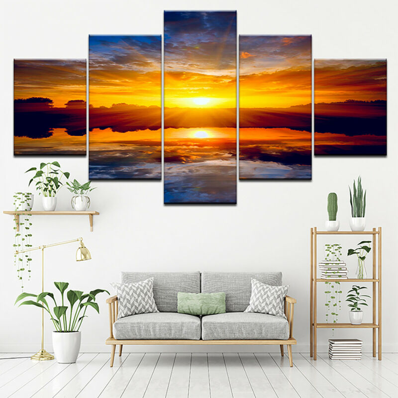 5 Panels Unframed Modern Canvas Art Oil Painting Picture Room Wall Hanging Decor 10