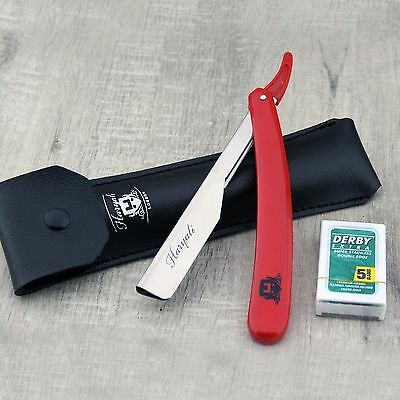 Barber Straight Cut Throat Salon Shaving Razor Shavette Rasoi Rasoirs + Blades 6
