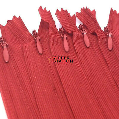 10 X ZIPS INVISIBLE//CONCEALED P/&P COLOURS NYLON ASSORTED FREE