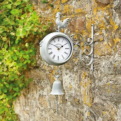 Wyegate Garden Station Clock Wall Mount Rooster Outdoor Thermometer Double Sided 7