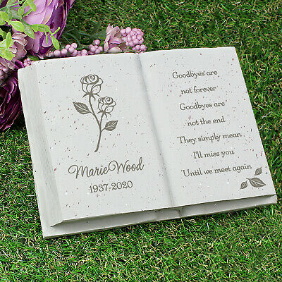 Personalised Memorial Book / Bible Plaque Garden Grave Ornament Cross Rose 2