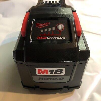 Genuine Milwaukee M18 XC 12 amp Red Lithium High Demand Battery NEW 48-11-1812 2
