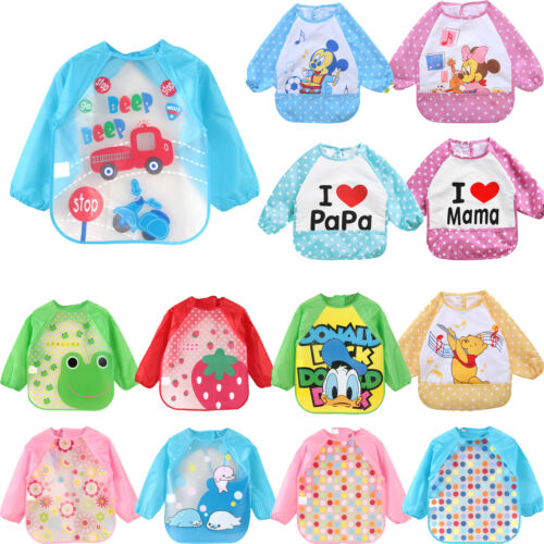 Baby Toddler Kids Cartoon Feeding Bibs Long Sleeve Plastic Feeding Smock Apron 3
