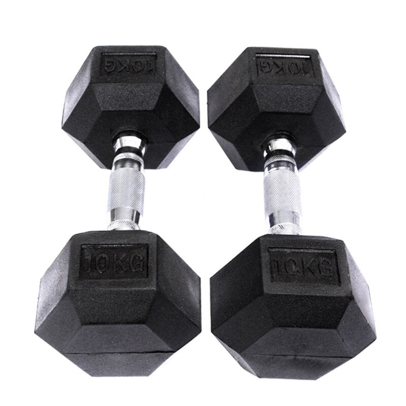 2X 8-15KG Rubber Encased Dumbbell Hex Weights Gym Fitness/Workout/Weight Lifting 5