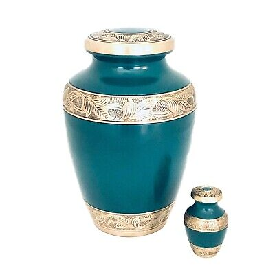 Well Lived® Green Brass Small Keepsake Set of 4 Cremation Urn for human ashes 3