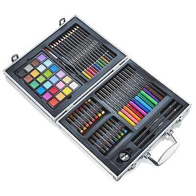 Artworx Childrens Artists Aluminium Art Case Colouring Set Paints Pencils Felts 3