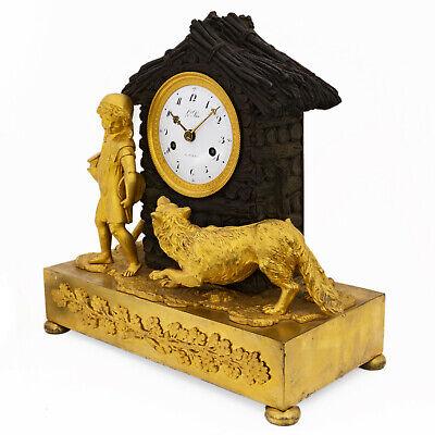 "Antique French pendulum clock ""Little Red Riding Hood"" LeRoi, montre horloge 3"