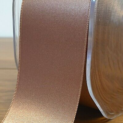 Beautiful Double Sided Satin Ribbon Deep Rose Gold 3mm-50mm Wide Plain Per 1M 2