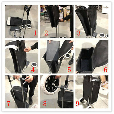 Black Shopping Trolley Cart Bag Foldable Wheels Carts Bags Market Luggage Basket 2