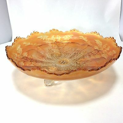 """Stag and Holly FENTON Ice Cream Shape ICS Footed Bowl 10 1/4"""" Marigold Carnival 2"""