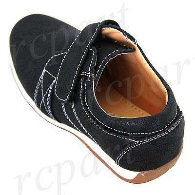 New boy kids sticky fasterning school casual shoes walk comfort Navy Blue