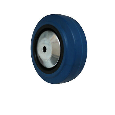 4 St/ück 80 mm Blue Weels Elastik Rad als Lenkrolle totalstop R/ückenloch