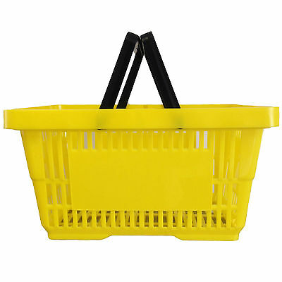 2 Handle Yellow Plastic Shopping Basket Retail Supermarket Use Hand Carry 4