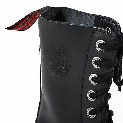 Angry Itch 8 Loch Gothic Punk Army Ranger Armee Vintage Braun Leder Stiefel mit Stahlkappe 36 48 Made in EU!