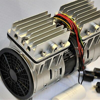 Twin Piston Oil-less Vacuum Pump 310W Science Lab Workshop Hookup O2 Generator + 2