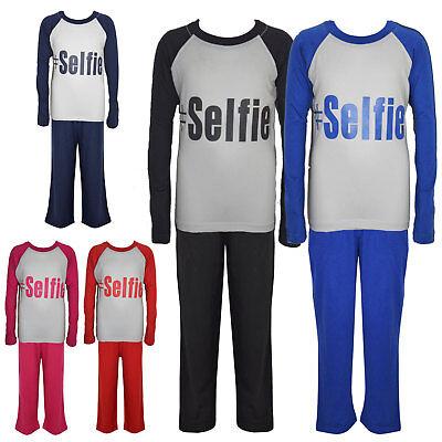 "Kids Boys Girls PJ's "" #SELFIE "" Printed Stylish Pyjamas New Age 5-13 Years 5"