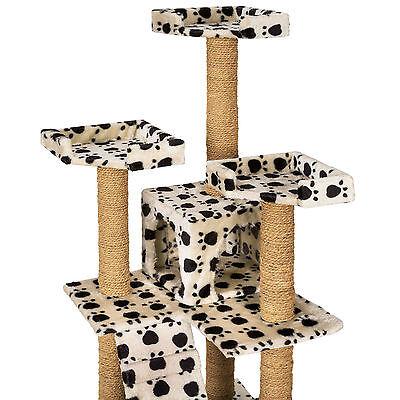 Arbre à chat griffoir grattoir jouet geant 2 grottes 169cm chats beige pattes 4