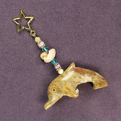 DOLPHIN SOAPSTONE CHARM Totem Amulet Talisman Porpoise Seashell Animal Magick