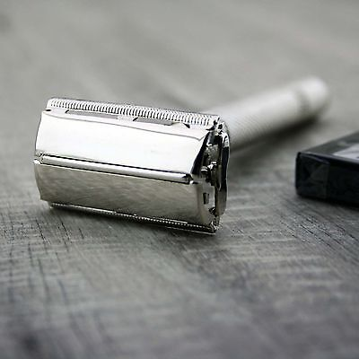 Twist Open Butterfly Safety Razor &10 Double Edge Blades Classic Shaving Vintage 2