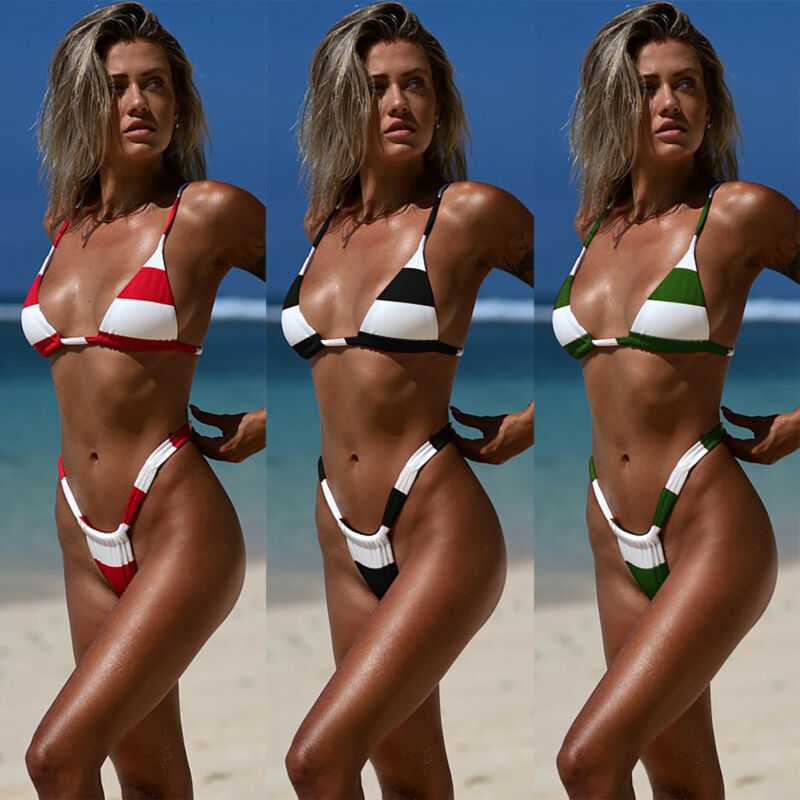 Womens Striped Bra Bikini Set Push Up Padded Sexy G Strings Swimwear Swimsuit XL 2