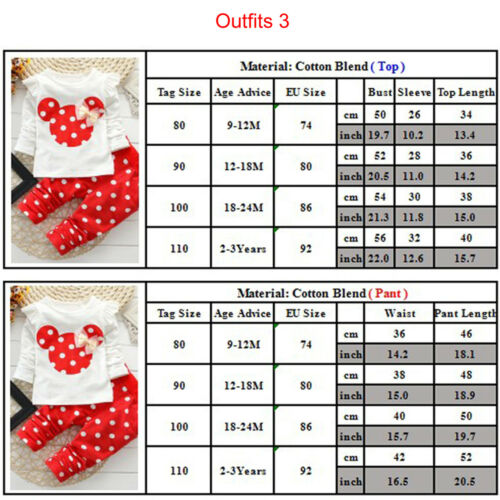 Kids Baby Girls Boys Mickey Minnie Mouse Hoodie Sweatshirt T-Shirt Tops Outfits 6
