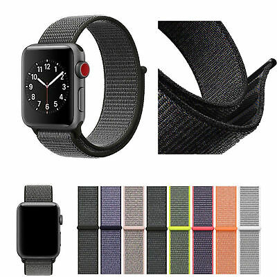 Für Apple Watch Nylongewebte Band Nylon Sport Loop Armband Serie 4 3 2 1 38 42mm 2
